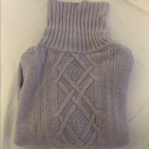 J Crew Cambridge Cable Turtleneck Sweater Lilac